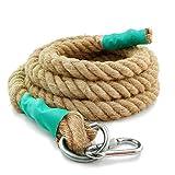 Aoneky Cuerda para Trepar de Yute - 30/40mm, 3-9M, Cuerda de Escalada con Mosquetón, Cuerda de Trepa para Crossfit Entrenamiento Gimnasio (30mm×3m)