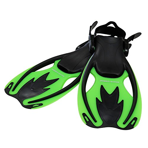 Snorkel Master Kids Swimming Snorkeling Fins, Green/Black, Small/Medium