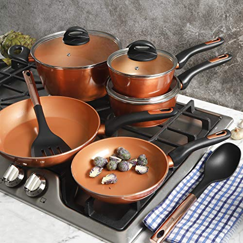 Gibson Home Eco-Friendly Hummington with Induction Base Forged Aluminum Non-Stick Ceramic Cookware with Soft Touch Bakelite Handle, 10-Piece Set, Metallic Copper
