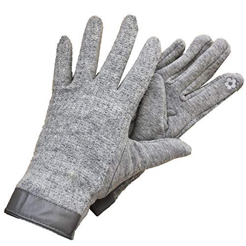 FERETI Hellgrau Handschuhe Angora Strickhandschuhe Wolle Frau Taktil Handy Touch Touchscreen Winter Warm