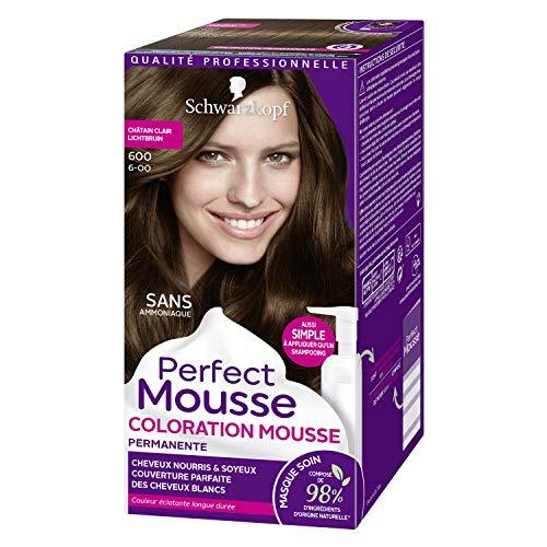 Schwarzkopf - Perfect Mousse - Coloration Cheveux - Mousse Permanente sans Ammoniaque - 98 % d'ingrédients d'origine naturelle - Châtain Clair 600