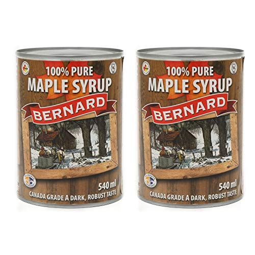Puro sciroppo d'acero Canadese Grado A (Dark, Robust taste) - Pack x 2 Lattine 540 ml (714 g) - Pure maple syrup - Puro succo d'acero