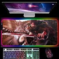 RGBゲーミングマウスパッド進撃の巨人ゲーミングマウスパッド14個の照明モードを備えた大型LEDマウスパッド滑り止めデスクマット800x300x4mmA