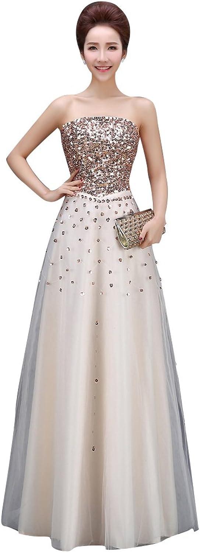 BeautyEmily Strapless Sequins Sleeveless ALine Graduation Dresses