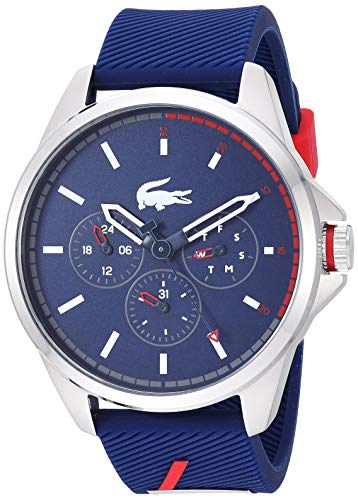 Lacoste Stainless Steel Quartz Watch with Rubber Strap, Blue, 22 (Model: 2010979)