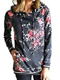 onlypuff Dark Gray Hooded Sweatshirt Long Sleeve Tunic Tops Floral Shirts S