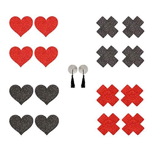Liebe Seele Nipple Cover Brustwarzenabdeckung Sets in verschiedenen Formen und Farben, 8 Stück & 1 Geschenk Selbstklebende Nippelabdeckungen, Schwarz und Rot (Rot/Schwarz)