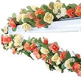 LumenTY - Ghirlanda di rose rampicanti artificiali per casa, matrimoni, giardini, feste di compleanno e decorazioni varie, colore: viola chiaro e scuro (confezione da 2), Champagne