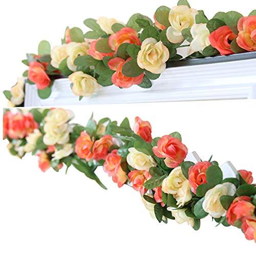 LumenTY - 2 guirnaldas con flores artificiales para decorar en casa, bodas, jardines, cumpleaños, festival, color morado claro y oscuro., Champagne