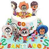Mini Juego de Figuras,Decoración de Pastel COco Decoración de pastel de cumpleaños de dibujos animados para Cumpleaños Decoración de La Torta del fiesta suministros 8 Piezas