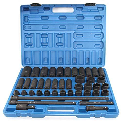 Snowtaros Juego de 43 piezas de 1/2 pulgada de accionamiento Master Impact Socket Set, métrico, 9-30 mm, acero Cr-V, incluye mango de trinquete, junta universal y 4 barras de extensión