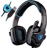 SADES SA901 PC Auriculares para Juegos 7.1 Sonido Envolvente Auriculares Cancelación de Ruido Auriculares para Juegos con cancelación de Ruido con micrófono y Control de Volumen de Graves (Azul)