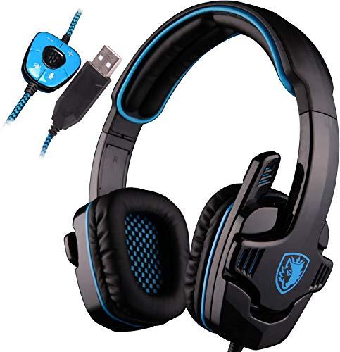 SADES SA901 Cuffie da gioco per PC 7.1 Surround Sound Cuffie USB con microfono a soppressione del rumore e bassi profondi e controllo del volume (blu)