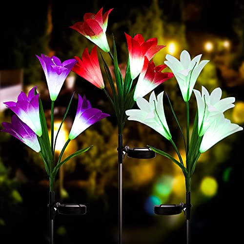Solar Garden Decoration Lights, Upgraded Outdoor Waterproof Lily Solar Lighting, Multi-Color LED Solar Landscape Light, Used in Gardens, Terraces, Lawn Paths, Backyards