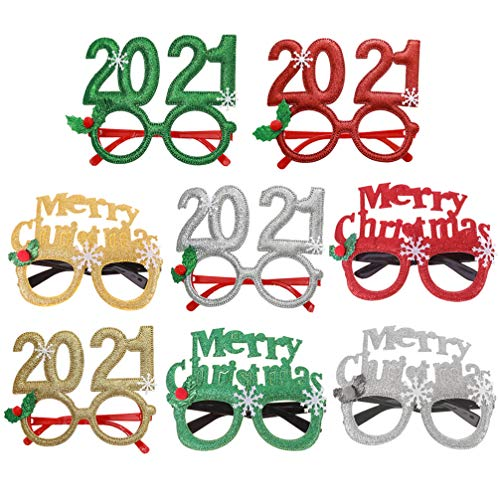 PRETYZOOM 2021 Anteojos Glitter Christmas Glasses 2021 Numbe