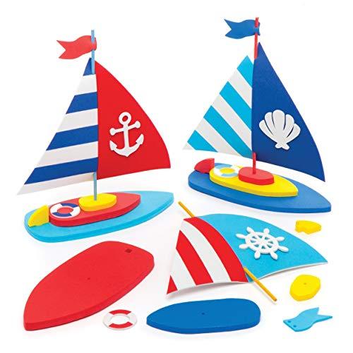 """Baker Ross Bastelsets """"Segelboot"""" (3 Stück) – Modellboot-Bastelsets für Kinder zum Basteln von Spielzeugbooten"""