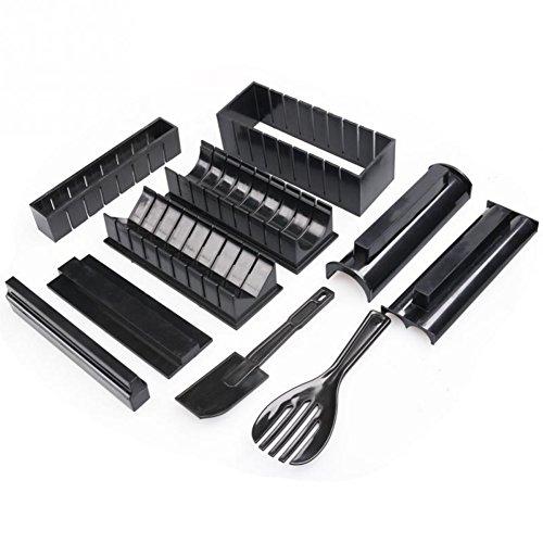 YIAI Sushi Maker Kit,10Pièces Plastique de Qualité Alimentaire Moules à Sushi, avec 5 Formes Moule de Rouleau de Riz à Sushi,Facile à Utiliser, Facile à Nettoyer,Outil de Sushi de Maison