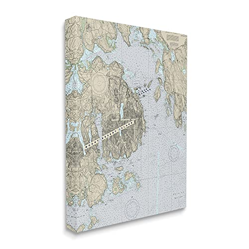 Stupell Industries Mount Desert Island Maine Coastal Map Traditional Cartography, Designed by Daphne Polselli Canvas Wall Art, 24 x 30, Grey