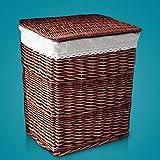 Yubingqin Cesta de ratán grande con tapa, para ropa sucia, cesta tejida para el hogar, caja de juguetes blindada, cesta de almacenamiento de ropa sucia, tejida a mano (tamaño: 46 x 35 x 50 cm)