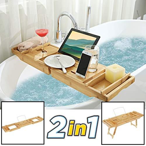 2-in-1 verstelbaar bamboe badrekje/ontbijt op bed dienblad - Voor bed en bad - 75 tot 110,5 cm lang - Bad tafeltje van hout met pootjes - Decopatent