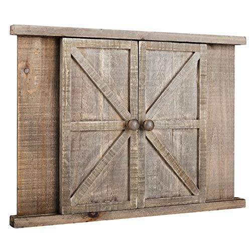 Farmhouse Rustic Brown Wood Barn Door Photo Frame, 2 Openings Wood Wall Picture Frame, Fit for 5 x 7 Photo
