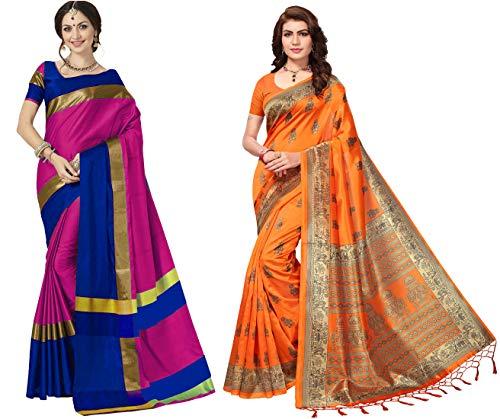 Art Decor Sarees Cotton Silk & Mysore Silk Sarees with Blouse Pieces with Pack of 2 Saree – Combo of 2 (Orange & Pink-Blue)