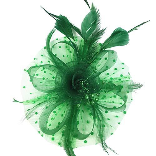 Tancurry Damen Feierliche Anlässe Faszinator Hut Federhut Kopfbedeckung Vintage Haarschmuck Party Hochzeit Kopfschmuck (Grün)