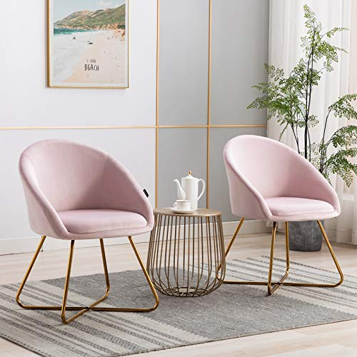 Artechworks Modern Velvet Dinning Chair with Golden Legs, Lounge Chair Set of 2, Accent Armchair for Living Dining Room Bedroom Reception Chair, Pink