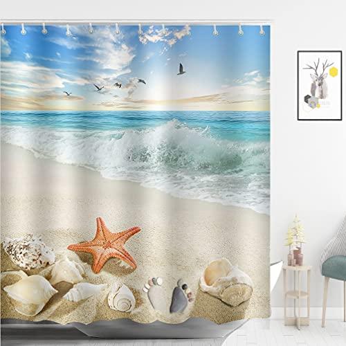 ABxinyoule Starfish Beach Shower Curtain Beach Theme Seashell Conch Shell Fabric Ocean Bathroom Decor
