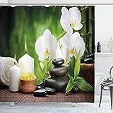 ABAKUHAUS Spa Duschvorhang, Zen Steine & Orchideen, aus Stoff inkl.12 Haken Digitaldruck Farbfest Langhaltig Bakterie Resistent, 175 x 240 cm, Weiß grün & schwarz