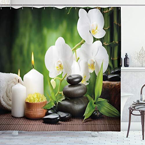 ABAKUHAUS Spa Duschvorhang, Zen Steine & Orchideen, aus Stoff inkl.12 Haken Digitaldruck Farbfest Langhaltig Bakterie Resistent, 175 x 200 cm, Weiß grün & schwarz