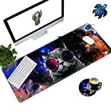 Desk Pad Mat Large Mouse Pad XL Extended Mousepad Gaming with Cat 31.5