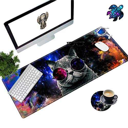 Desk Pad Mat Large Mouse Pad XL Extended Mousepad Gaming with Cat 31.5' 11.8' Huge Mouse Pads for Computer Laptop Home Office + Cup Coaster and Cute Stickers