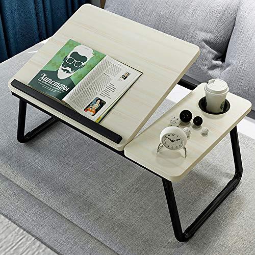 Laptop Desk for Bed,Asltoy Laptop Bed Tray Table,Foldable Lap Desk Stand Notebook Desk Adjustable Laptop Table for Bed Portable Notebook Bed Tray Lap Tablet with Cup Holder (Beige)
