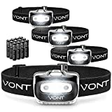Vont 'Spark' LED Headlamp Flashlight (4 Pack, Batteries Included) Head Lamp Gear Suitable for Running, Camping, Hiking, Climbing, Fishing, Jogging, Headlight with Red Light, Headlamps - Adults, Kids
