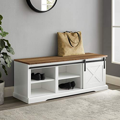 Walker Edison Farmhouse Sliding Barn Door Entryway Bench Shoe Storage Shelf Hallway Organizer, 48 Inch, White