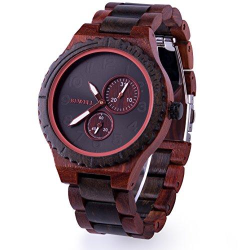 BEWELL 腕時計 木製 ウッドウォッチ メンズ クォーツ 日付表示 天然木 アナログ腕時計 大きい文字盤 男性用 誕生日 父の日 ギフト(赤檀と黒檀)