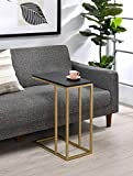 Kings Brand Furniture – Snack Side End Accent C Table, Coffee Laptop Stand, Gold/Black