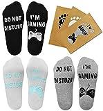 Tuopuda Chaussettes Fantaisie Drôle Courtes Coton Gamer Socks Do Not Disturb I'm Gaming Socquettes Ankle Socks Nouveauté Cadeaux Noël