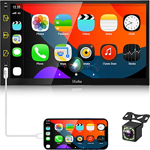 Hieha Double Din Car Stereo Compatible with Apple Carplay and Android Auto, 7 Inch Touch Screen Car Stereo, Car Radio with Bluetooth and Backup Camera, AM / FM, Screen Mirroring