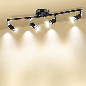 HURYEE Track Lighting Kit, Adjustable Track Arm 4 Head Foldable Ceiling Spot Light with GU10 Socket, Matte Black, Bulbs not Included