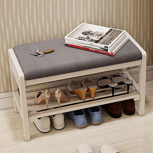 ZHPBHD Zapatero Rack de zapatos Capitán de zapatos de repuesto de 2 capas Estante de zapatos de almacenamiento de madera maciza con asiento para la entrada del dormitorio del corredor Banco de zapatos