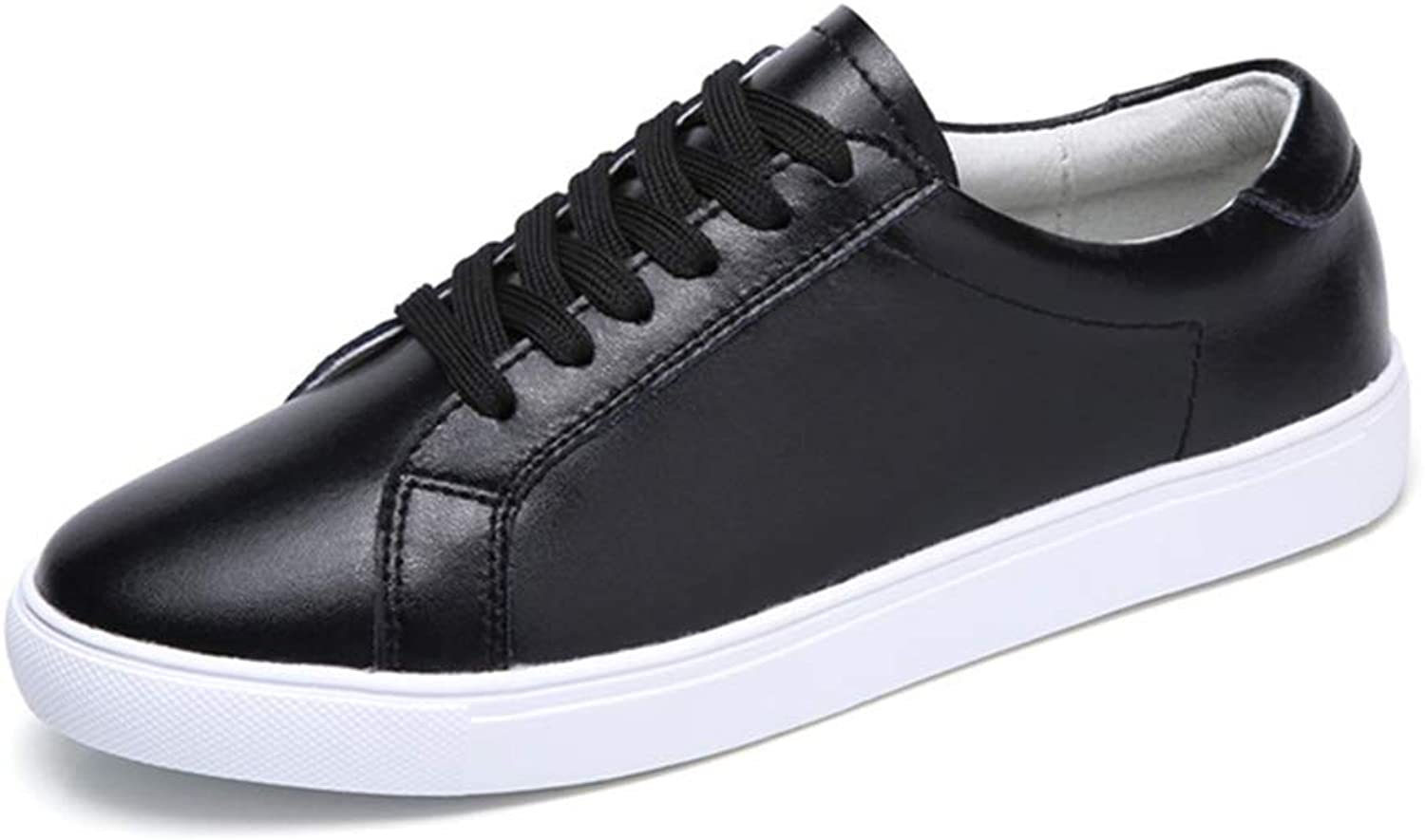 FUMAK Genuine Leather Women's Flat shoes Women Soft Breathable Sneakers Black White Lace Up