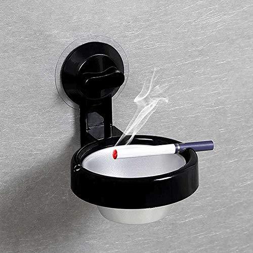 Aschenbecher-Halter Wand- Schlags freie Aschenbecher mit Saugnapf, European Fashion ABS Kunststoff-Aluminium-Ascher, WC Hanging Zigarette Aschenbecher Box for Badezimmer Küche Bar ( Color : Schwarz )