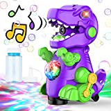 AUZEEG Bubble Machine, Dinosaur Bubble Maker with Colorful LED Lights & Universal Walking, 3000+ Bubbles Per Minute, Safe Material, Built-in Music Bubble Machine for Kids/ Toddlers/ Boys/ Girl, Purple
