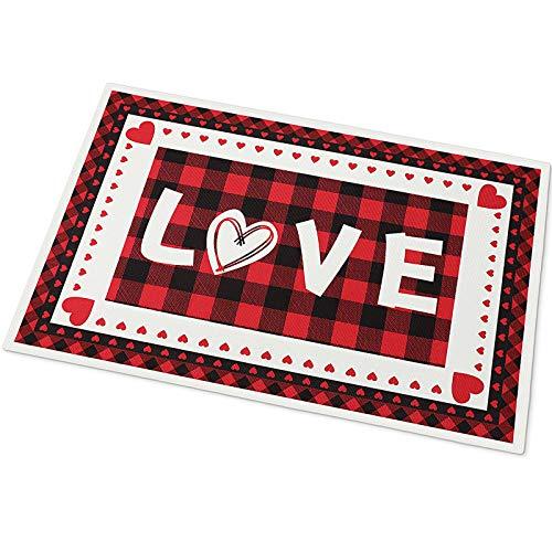 Felpudo de San Valentín Alfombra de Entrada con Patrón de Corazón Tapete de Bienvenida Decorativa de Amor Cuadros de Búfalo con Respaldo de Goma para Decoración Hogar, 15,7 x 23,6 Pulgadas
