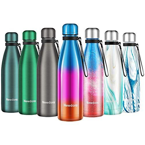 Newdora Bottiglia Acqua in Acciaio Inox 500ml, Tazze da Viaggio, Borraccia Termica Isolamento Sottovuoto a Doppia Parete, per Campeggio di Sport Esterni Escursionismo Escursioni in Bicicletta