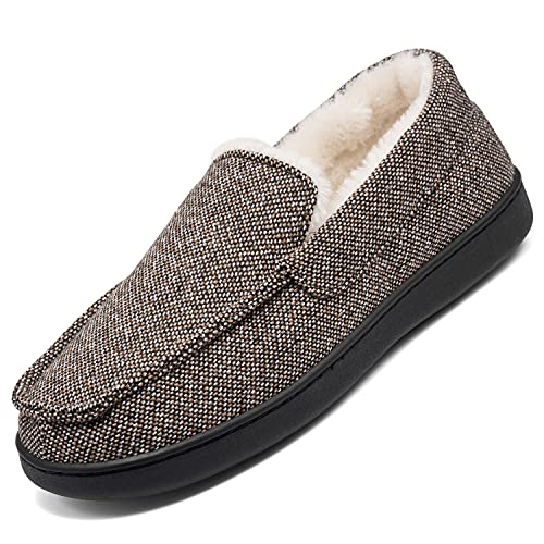 Mishansha Mocasín Zapatillas de estar por casa para hombre y mujer, de espuma viscoelástica, unisex, tallas 36-48, marrón, 38 EU