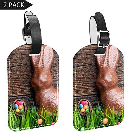 LORVIES Chocolade Paashaas en Eieren Bagage Tags Reizen Labels Tag Naam Kaarthouder voor Bagage Koffer Tas Rugzakken, 2 PCS