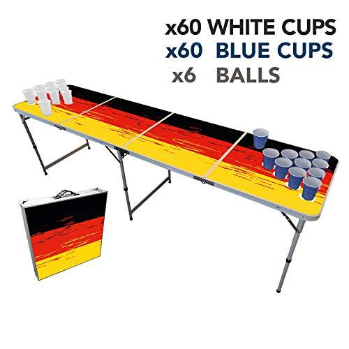Offizieller Deutsche Beer Pong Tisch Set | Full Beer Pong Pack | Inkl. 1 Beer Pong Tisch + 120 53cl Becher (60 Rot & 60 Blau) + 6 Ping-Pong-Bälle | Premium Qualität | Partyspiele | Trinkspiele